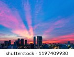 building at the sunset with... | Shutterstock . vector #1197409930