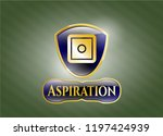gold shiny emblem with bank... | Shutterstock .eps vector #1197424939