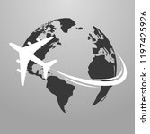 travel icons with airplane fly...   Shutterstock .eps vector #1197425926