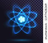 blue glowing atom on... | Shutterstock .eps vector #1197428269