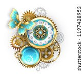 antique clock  decorated with... | Shutterstock .eps vector #1197428953