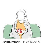 woman sitting wrapped in a... | Shutterstock .eps vector #1197432916