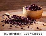 Azuki Beans In Wood Bowl On...
