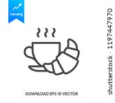 coffee and croissant icon.... | Shutterstock .eps vector #1197447970