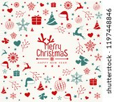 retro vintage merry christmas... | Shutterstock .eps vector #1197448846
