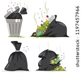 trash can and black bag with... | Shutterstock .eps vector #1197457966