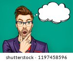 thinking man with open mouth... | Shutterstock . vector #1197458596