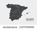 spain map vector  isolated on... | Shutterstock .eps vector #1197459040