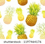 pineapple seamless pattern ... | Shutterstock .eps vector #1197464176