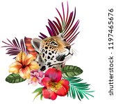 bouquet with tropical flowers ... | Shutterstock . vector #1197465676