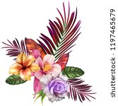 bouquet with tropical flowers ... | Shutterstock . vector #1197465679