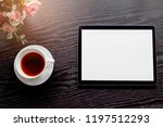 top view white cup of tea with... | Shutterstock . vector #1197512293
