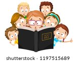 little children reading holy... | Shutterstock .eps vector #1197515689