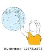 the girl touches the earth. the ...   Shutterstock .eps vector #1197516973