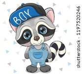 cute cartoon raccoon in a cap... | Shutterstock .eps vector #1197520246