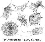 set of  cobweb. spider web for... | Shutterstock .eps vector #1197527860
