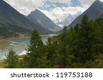 Mount Belukha, the highest point of Altai Mountains (4506m) - stock photo