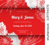 wedding card or invitation with ... | Shutterstock .eps vector #119754370