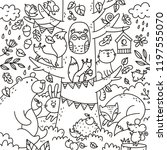 autumn forest coloring page.... | Shutterstock .eps vector #1197555070