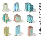 isometric buildings. business... | Shutterstock .eps vector #1197556300