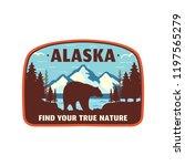 alaska badge design. mountain... | Shutterstock .eps vector #1197565279