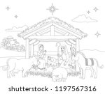 a christmas nativity coloring... | Shutterstock .eps vector #1197567316