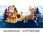 santa claus in his sleigh...   Shutterstock .eps vector #1197569206