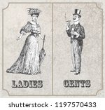 victorian lady and gentleman.... | Shutterstock .eps vector #1197570433