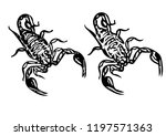 black scorpion shiluette tattoo | Shutterstock . vector #1197571363
