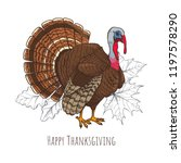 happy thanksgiving day with... | Shutterstock .eps vector #1197578290