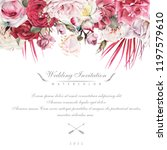 greeting card with roses ... | Shutterstock . vector #1197579610