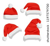 santa claus hats of red color ... | Shutterstock .eps vector #1197579700