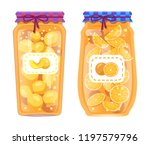 oranges and peaches preserved... | Shutterstock .eps vector #1197579796