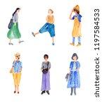watercolor woman wearing street ... | Shutterstock . vector #1197584533