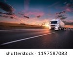 truck with container on highway ... | Shutterstock . vector #1197587083