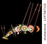 pieces of delicious japanese... | Shutterstock . vector #1197587110