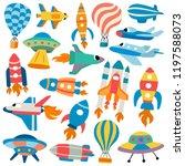 spacecrafts cartoon... | Shutterstock .eps vector #1197588073