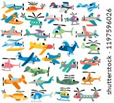 cartoon aircrafts vector set | Shutterstock .eps vector #1197596026