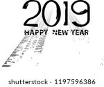 tire tracks . new year 2019.... | Shutterstock .eps vector #1197596386
