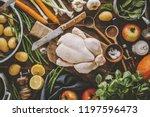 healthy food cooking concept.... | Shutterstock . vector #1197596473
