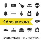 sunny icons set with umbrella...