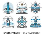 lighthouse and nautical... | Shutterstock .eps vector #1197601000