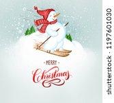 Snowman Skiing Watercolor Art...