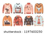 set of ugly christmas sweaters... | Shutterstock .eps vector #1197603250