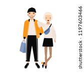hipster boy and girl dressed in ... | Shutterstock .eps vector #1197603466