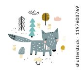 cute childish print with cute... | Shutterstock .eps vector #1197603769