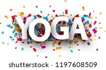 yoga sign with colorful paper... | Shutterstock .eps vector #1197608509