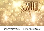 golden shiny bokeh new year... | Shutterstock .eps vector #1197608539