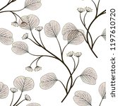 seamless pattern with leaves.... | Shutterstock .eps vector #1197610720