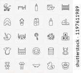 baby care line icon set with... | Shutterstock .eps vector #1197611989